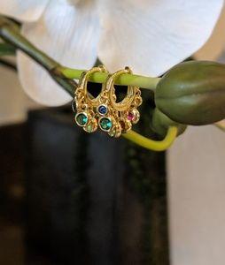 Jewelry - Gold earrings with hanging rainbow diamonds
